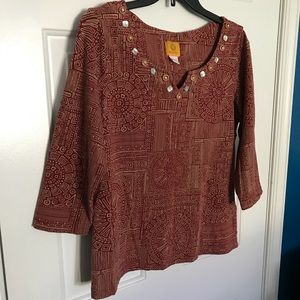 Ruby Rd 3/4 sleeve top with Beautiful design L